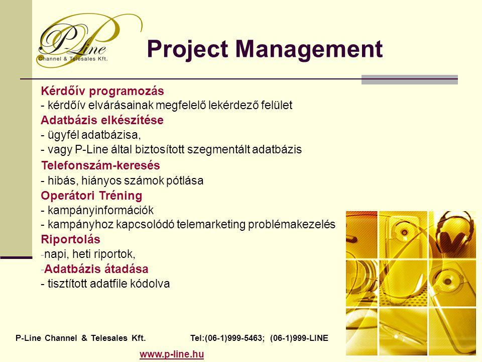 Project Management Kérdőív programozás - kérdőív elvárásainak megfelelő lekérdező felület Adatbázis elkészítése - ügyfél adatbázisa, - vagy P-Line által biztosított szegmentált adatbázis Telefonszám-keresés - hibás, hiányos számok pótlása Operátori Tréning - kampányinformációk - kampányhoz kapcsolódó telemarketing problémakezelés Riportolás - napi, heti riportok, - Adatbázis átadása - tisztított adatfile kódolva P-Line Channel & Telesales Kft.