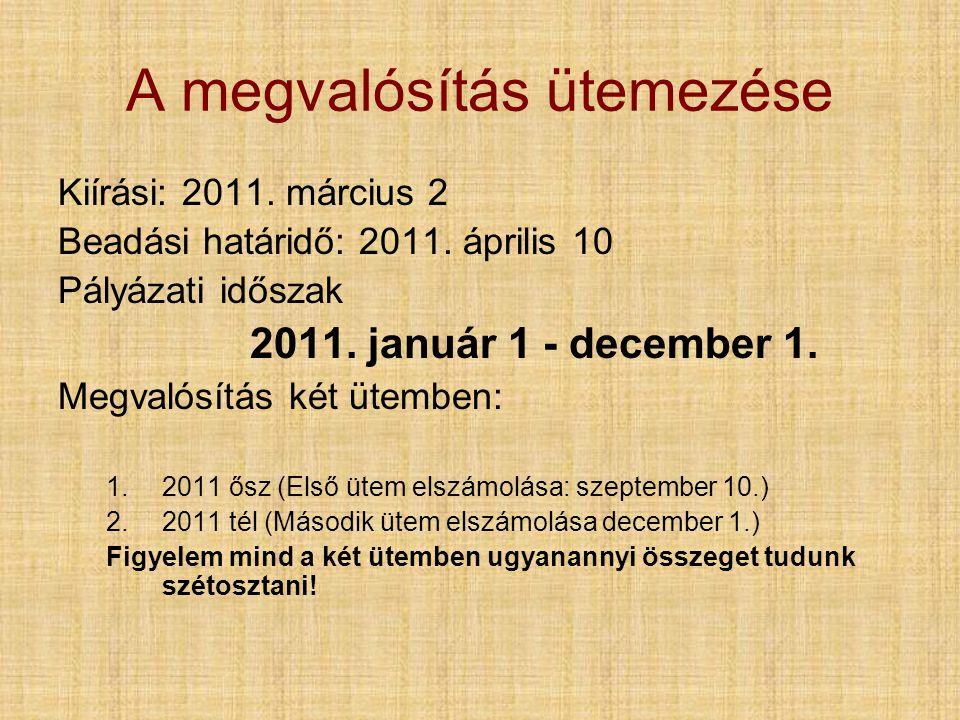 A megvalósítás ütemezése Kiírási: 2011. március 2 Beadási határidő: 2011.