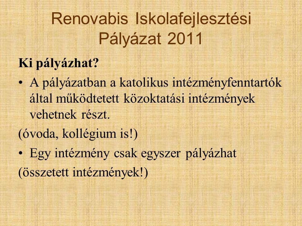 1.Renovabis Iskolafejlesztési Pályázat 2011 Milyen tevékenységre lehet pályázni.