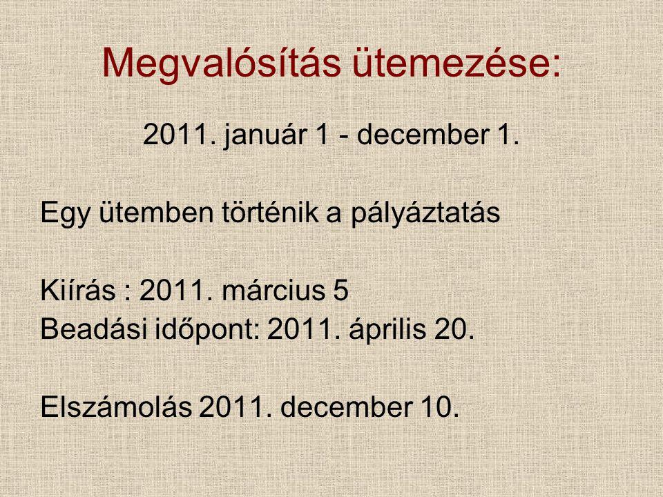 Megvalósítás ütemezése: 2011. január 1 - december 1.