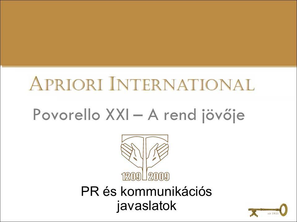 Povorello XXI – egy kommunikáció alapjai Cél –A ferences küldetés és értékek megismertetése a mai világban Feladatok –A rend teljes arculati megújítása –Arculategységesítés a rend és egyes al-intézményei között –Az intézmények összekötése, kommunikációs kapcsolatának erősítése –Ferences Jószolgálati Alap létrehozása – jószolgálati nagykövet kinevezése, aki a rend arcaként képviseli a rendet az országban Eszközök –FKI – Ferences Kommunikációs Intézet Ferpress – Ferences sajtó és kiadványok FTF – Ferences Társadalmi Felelősségvállalás –SZFZM – Szent Ferenc Zöld Mozgalom –FSP – Ferences Sportprogram –Ferences söröző megnyítása