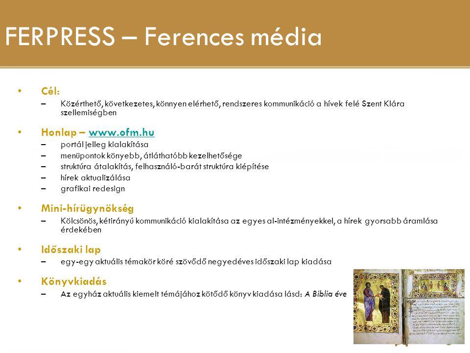 FERPRESS – Ferences média Cél: –Közérthető, következetes, könnyen elérhető, rendszeres kommunikáció a hívek felé Szent Klára szellemiségben Honlap – w
