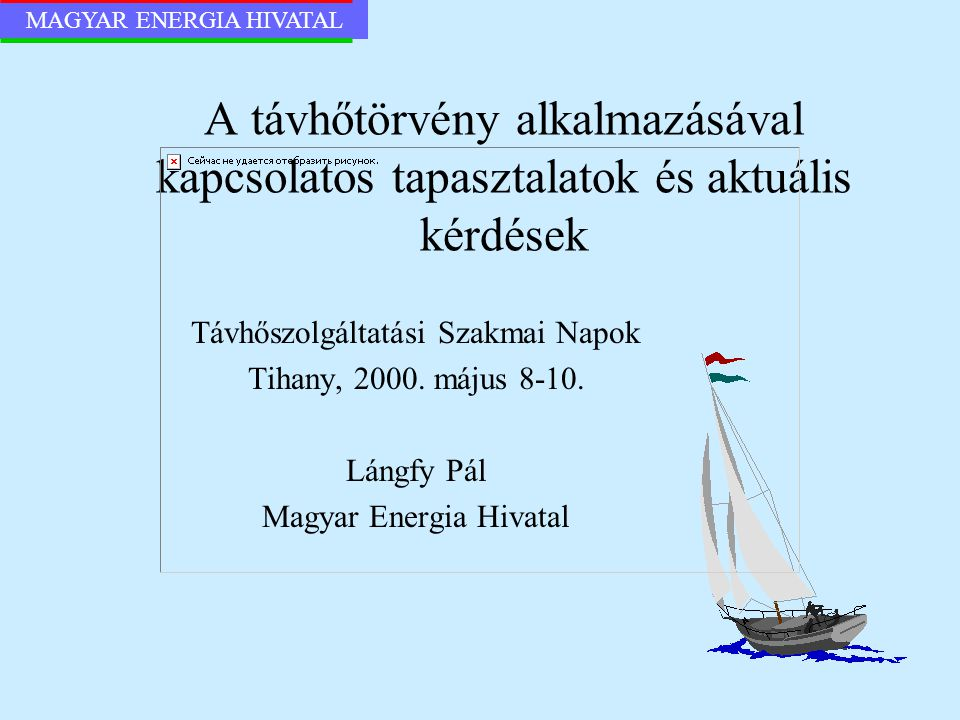 MAGYAR ENERGIA HIVATAL A távhőtörvény alkalmazásával kapcsolatos tapasztalatok és aktuális kérdések Távhőszolgáltatási Szakmai Napok Tihany, 2000. máj