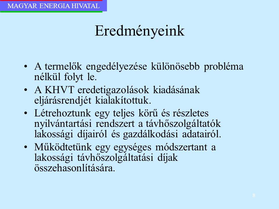 MAGYAR ENERGIA HIVATAL 8 Eredményeink A termelők engedélyezése különösebb probléma nélkül folyt le. A KHVT eredetigazolások kiadásának eljárásrendjét