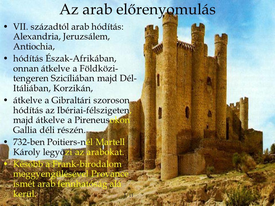 Az arab előrenyomulás VII. századtól arab hódítás: Alexandria, Jeruzsálem, Antiochia, hódítás Észak-Afrikában, onnan átkelve a Földközi- tengeren Szic