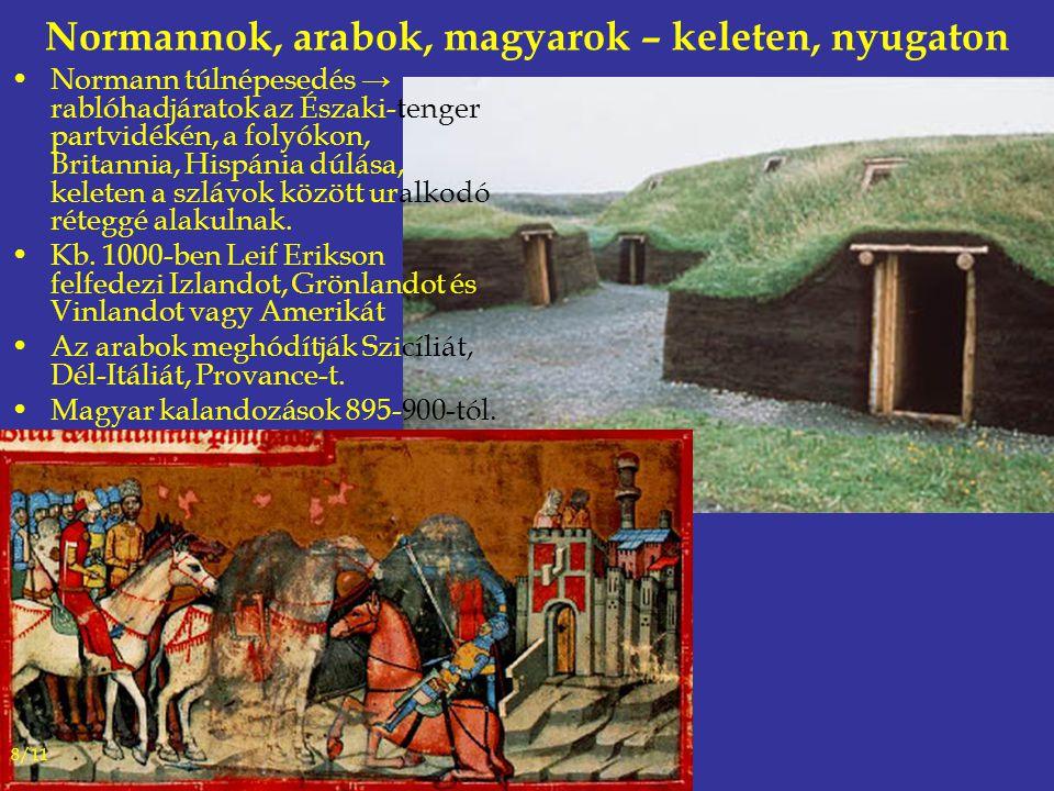 Normannok, arabok, magyarok – keleten, nyugaton Normann túlnépesedés → rablóhadjáratok az Északi-tenger partvidékén, a folyókon, Britannia, Hispánia dúlása, keleten a szlávok között uralkodó réteggé alakulnak.