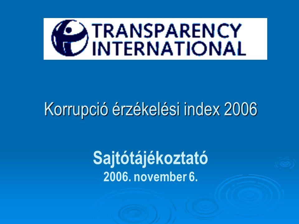 Korrupció érzékelési index 2006 Korrupció érzékelési index 2006 Sajtótájékoztató 2006. november 6.