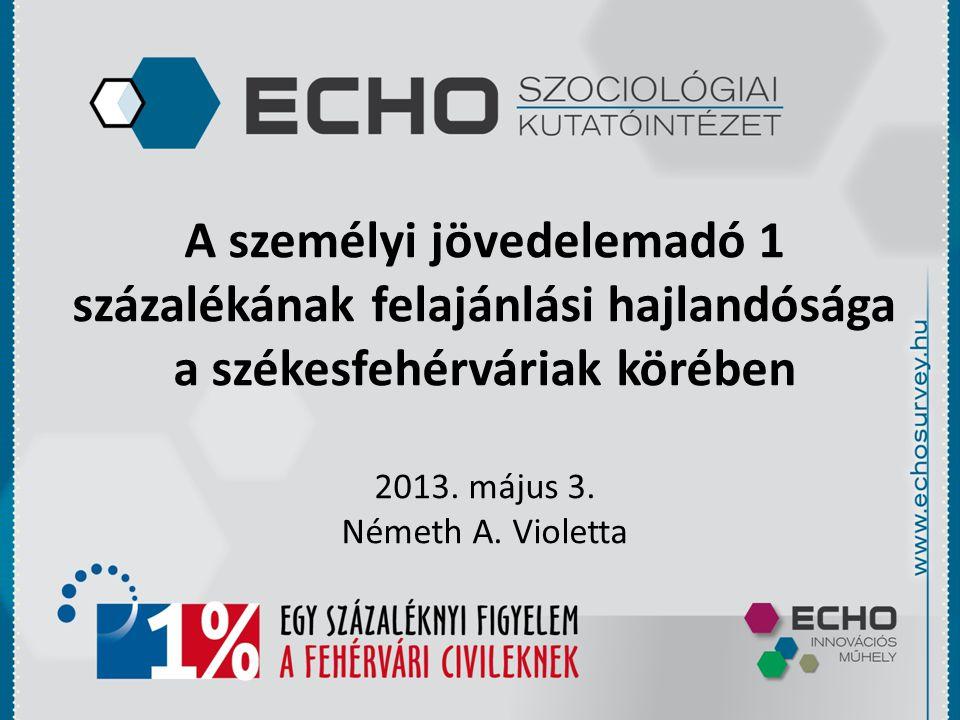 A személyi jövedelemadó 1 százalékának felajánlási hajlandósága a székesfehérváriak körében 2013.