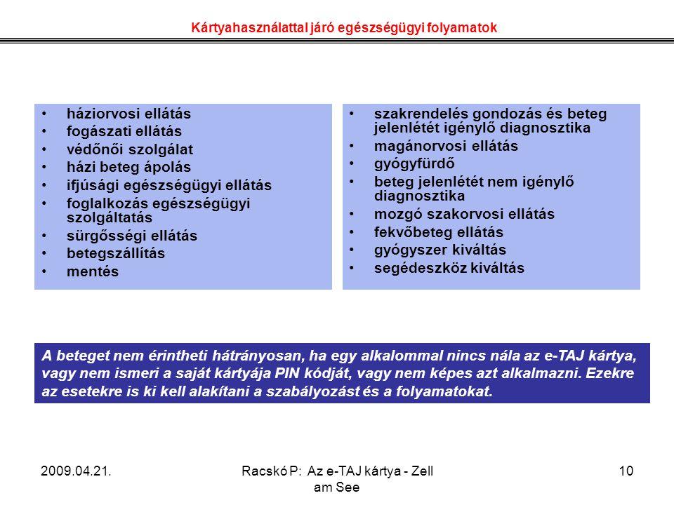 2009.04.21.Racskó P: Az e-TAJ kártya - Zell am See 10 Kártyahasználattal járó egészségügyi folyamatok A beteget nem érintheti hátrányosan, ha egy alka