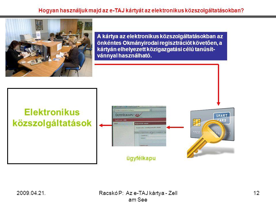 2009.04.21.Racskó P: Az e-TAJ kártya - Zell am See 12 Hogyan használjuk majd az e-TAJ kártyát az elektronikus közszolgáltatásokban? A kártya az elektr