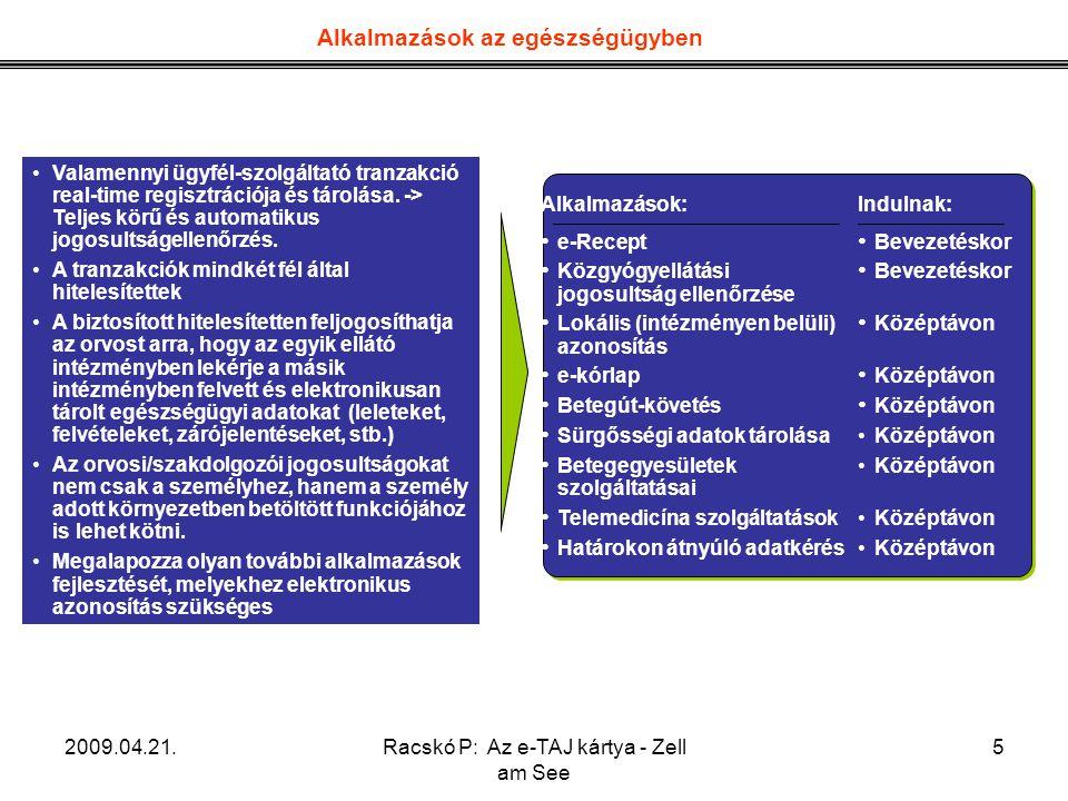 2009.04.21.Racskó P: Az e-TAJ kártya - Zell am See 5 Alkalmazások az egészségügyben Valamennyi ügyfél-szolgáltató tranzakció real-time regisztrációja