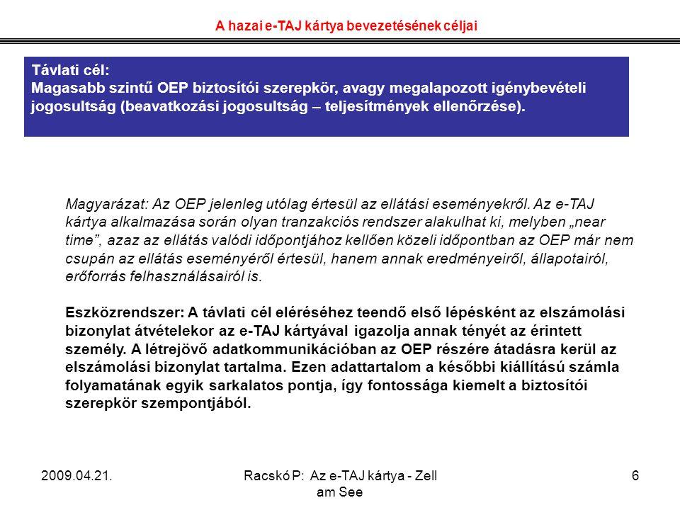 2009.04.21.Racskó P: Az e-TAJ kártya - Zell am See 7 Magyarázat: Az orvos-beteg találkozás, a gyógyászati segédeszköz kiváltás, a recept felírás (e-recept), vény kiváltás eseménye során az e-TAJ kártya jelenléte igazolja a szereplőket és az általuk végrehatott műveletet.
