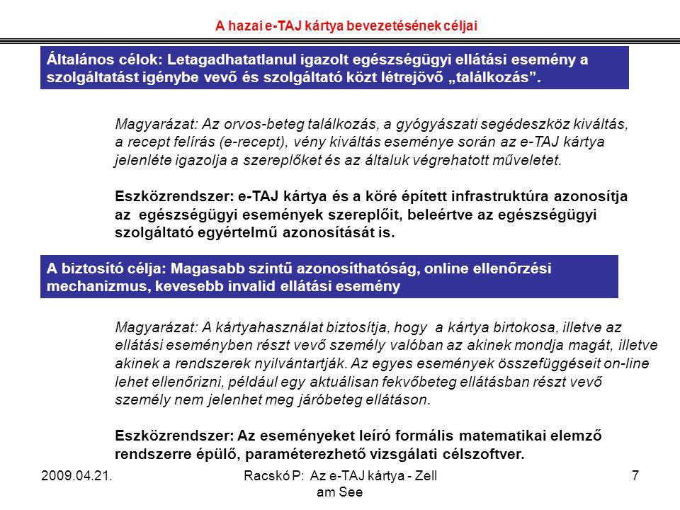 2009.04.21.Racskó P: Az e-TAJ kártya - Zell am See 7 Magyarázat: Az orvos-beteg találkozás, a gyógyászati segédeszköz kiváltás, a recept felírás (e-re
