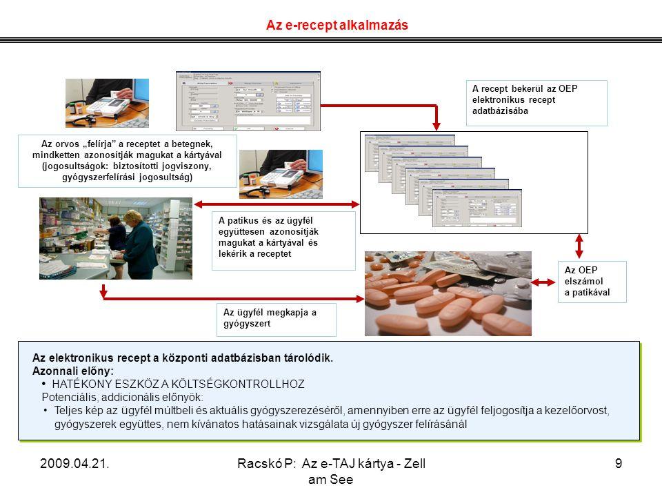 """2009.04.21.Racskó P: Az e-TAJ kártya - Zell am See 9 Az orvos """"felírja"""" a receptet a betegnek, mindketten azonosítják magukat a kártyával (jogosultság"""