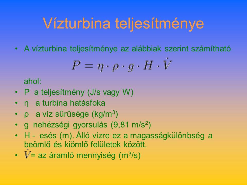 Vízturbina teljesítménye A vízturbina teljesítménye az alábbiak szerint számítható ahol: P a teljesítmény (J/s vagy W) η a turbina hatásfoka ρ a víz s