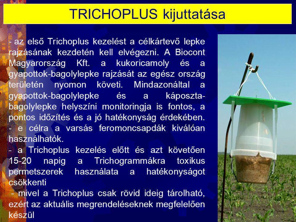 TRICHOPLUS kijuttatása - az első Trichoplus kezelést a célkártevő lepke rajzásának kezdetén kell elvégezni. A Biocont Magyarország Kft. a kukoricamoly