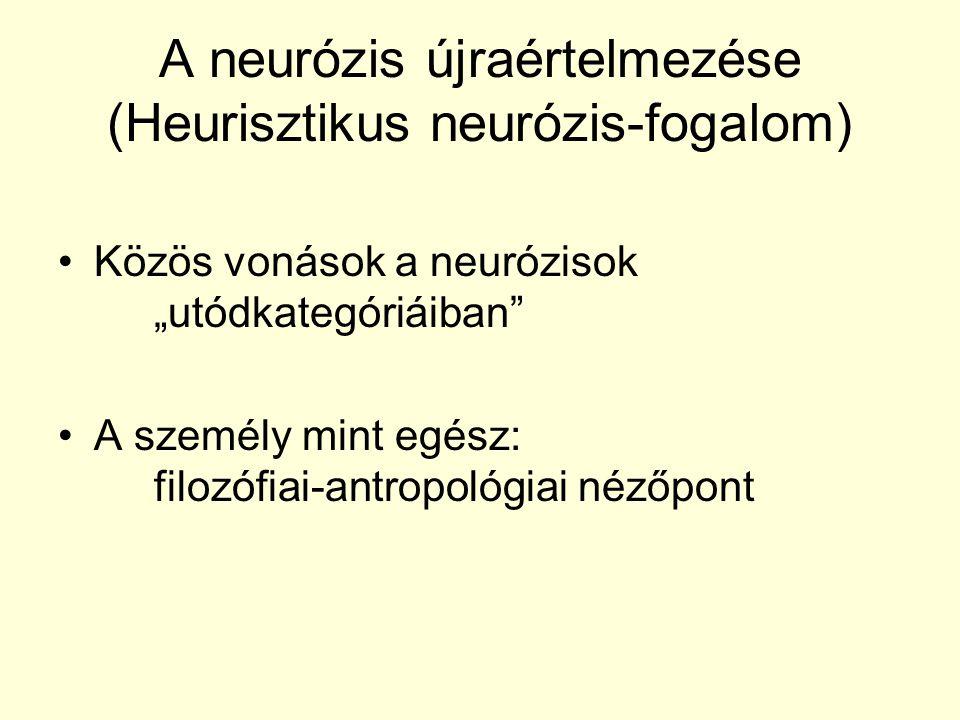 """A neurózis újraértelmezése (Heurisztikus neurózis-fogalom) Közös vonások a neurózisok """"utódkategóriáiban"""" A személy mint egész: filozófiai-antropológi"""