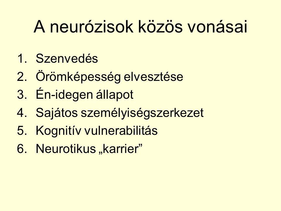 A neurózisok közös vonásai 1.Szenvedés 2.Örömképesség elvesztése 3.Én-idegen állapot 4.Sajátos személyiségszerkezet 5.Kognitív vulnerabilitás 6.Neurot