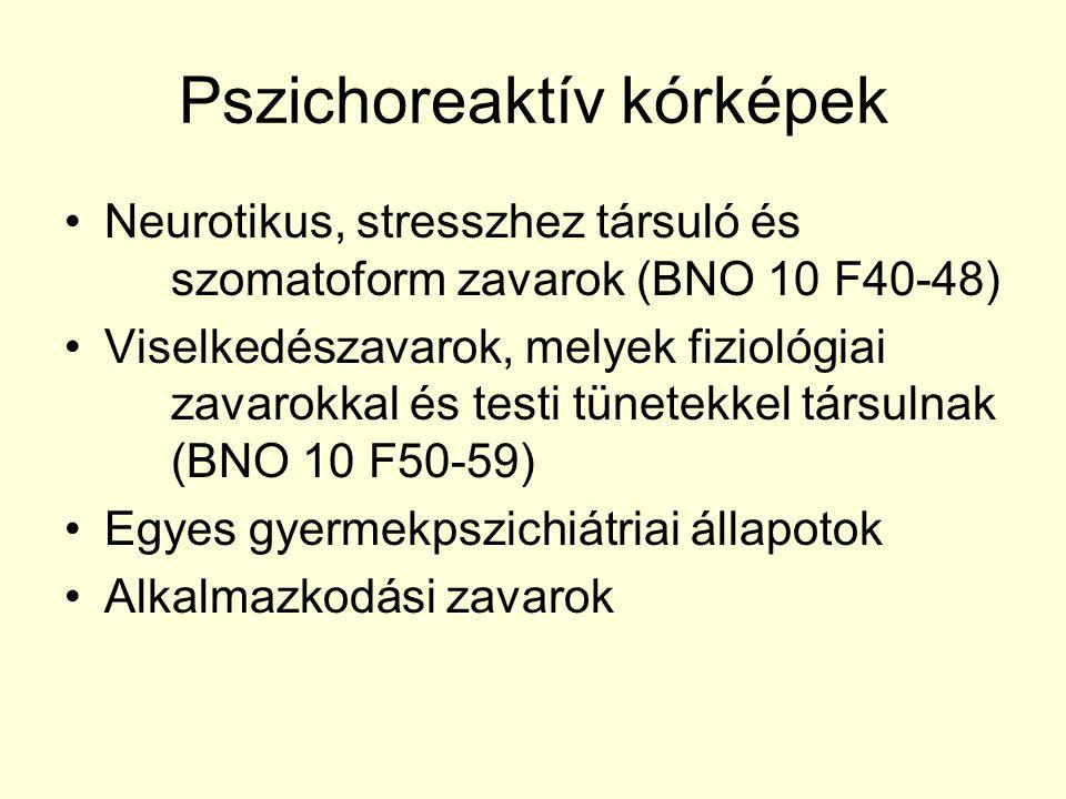 Pszichoreaktív kórképek Neurotikus, stresszhez társuló és szomatoform zavarok (BNO 10 F40-48) Viselkedészavarok, melyek fiziológiai zavarokkal és test