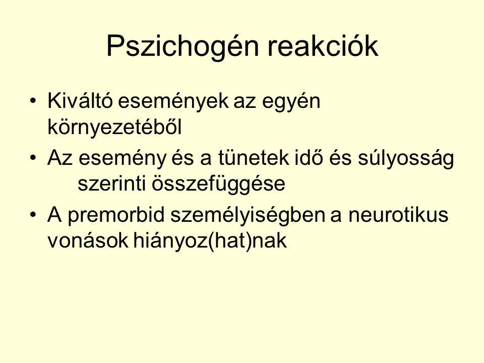 Pszichogén reakciók Kiváltó események az egyén környezetéből Az esemény és a tünetek idő és súlyosság szerinti összefüggése A premorbid személyiségben