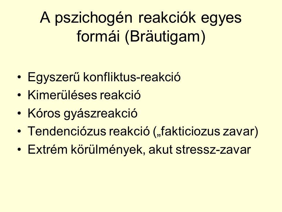 """A pszichogén reakciók egyes formái (Bräutigam) Egyszerű konfliktus-reakció Kimerüléses reakció Kóros gyászreakció Tendenciózus reakció (""""fakticiozus z"""