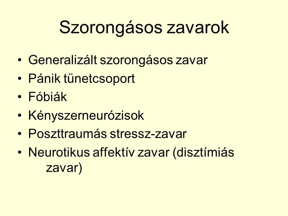 Szorongásos zavarok Generalizált szorongásos zavar Pánik tünetcsoport Fóbiák Kényszerneurózisok Poszttraumás stressz-zavar Neurotikus affektív zavar (