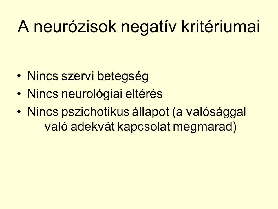 A neurózisok negatív kritériumai Nincs szervi betegség Nincs neurológiai eltérés Nincs pszichotikus állapot (a valósággal való adekvát kapcsolat megma