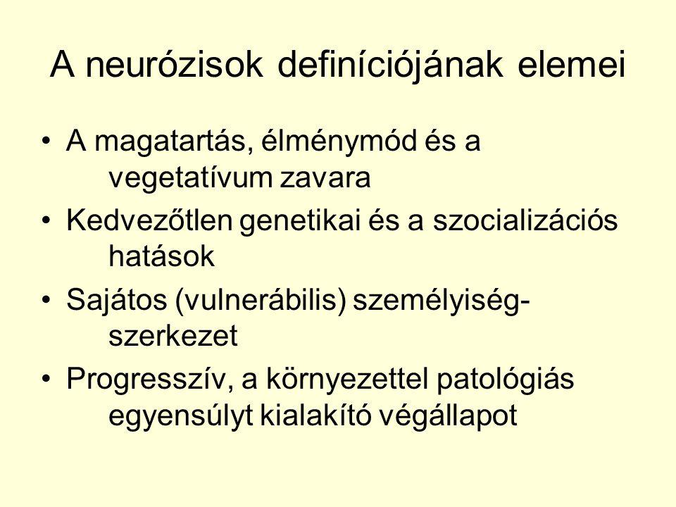 A neurózisok definíciójának elemei A magatartás, élménymód és a vegetatívum zavara Kedvezőtlen genetikai és a szocializációs hatások Sajátos (vulneráb