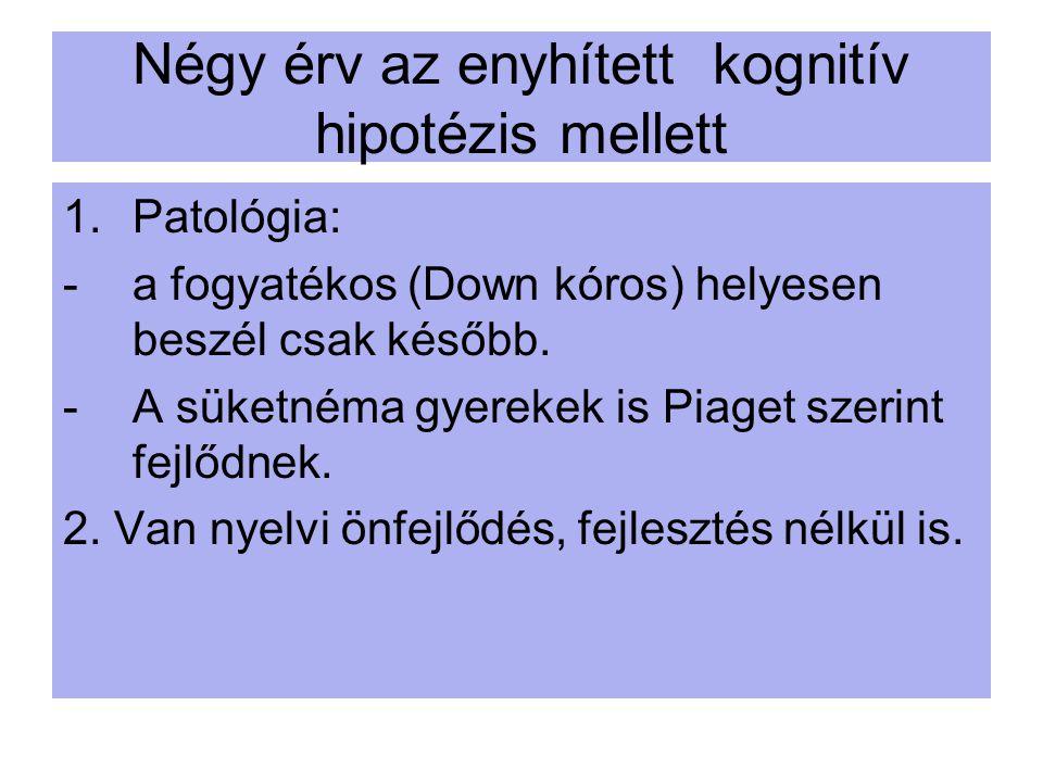 Négy érv az enyhített kognitív hipotézis mellett 1.Patológia: -a fogyatékos (Down kóros) helyesen beszél csak később. -A süketnéma gyerekek is Piaget