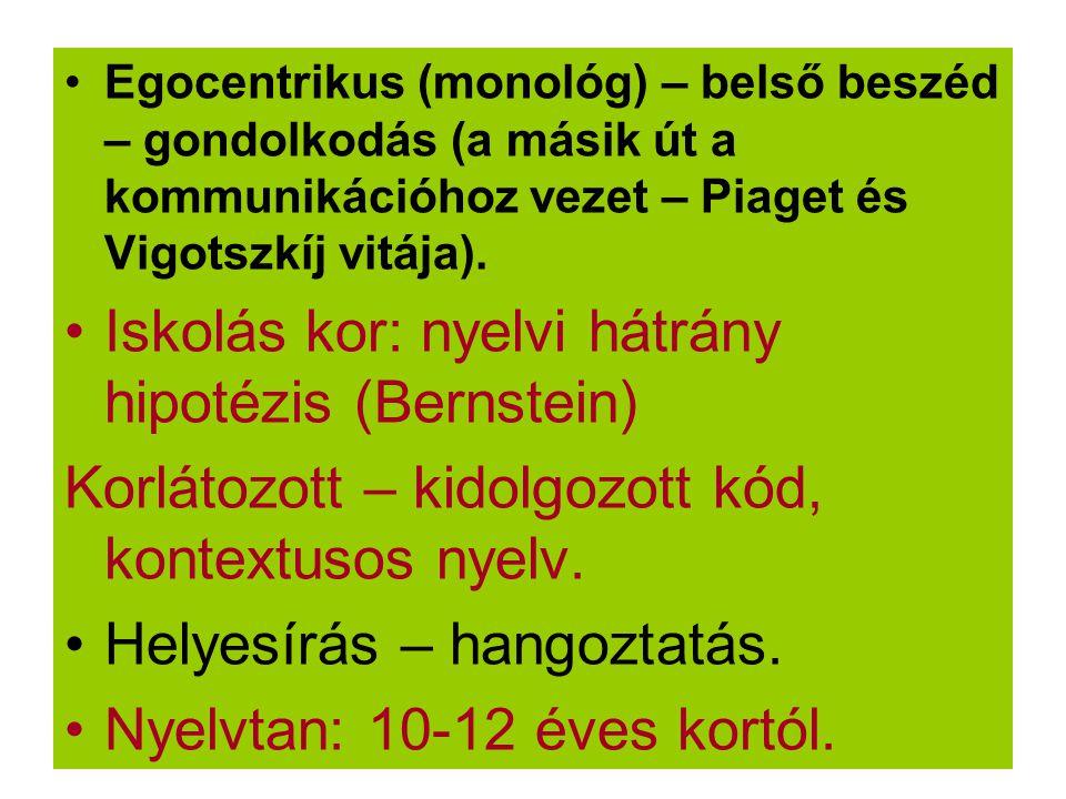 Egocentrikus (monológ) – belső beszéd – gondolkodás (a másik út a kommunikációhoz vezet – Piaget és Vigotszkíj vitája). Iskolás kor: nyelvi hátrány hi