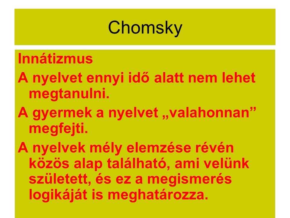 """Chomsky Innátizmus A nyelvet ennyi idő alatt nem lehet megtanulni. A gyermek a nyelvet """"valahonnan"""" megfejti. A nyelvek mély elemzése révén közös alap"""