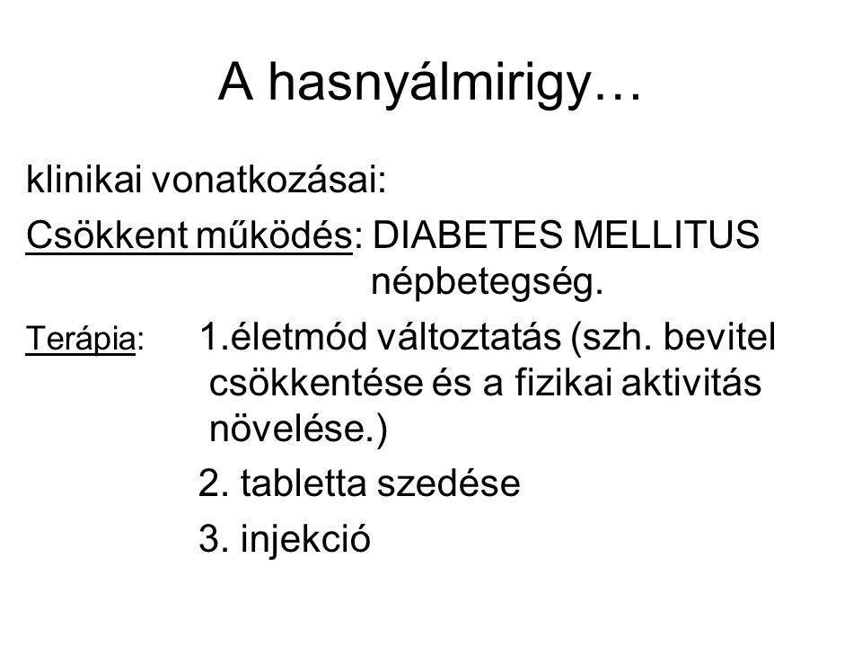 A hasnyálmirigy… klinikai vonatkozásai: Csökkent működés: DIABETES MELLITUS népbetegség. Terápia: 1.életmód változtatás (szh. bevitel csökkentése és a