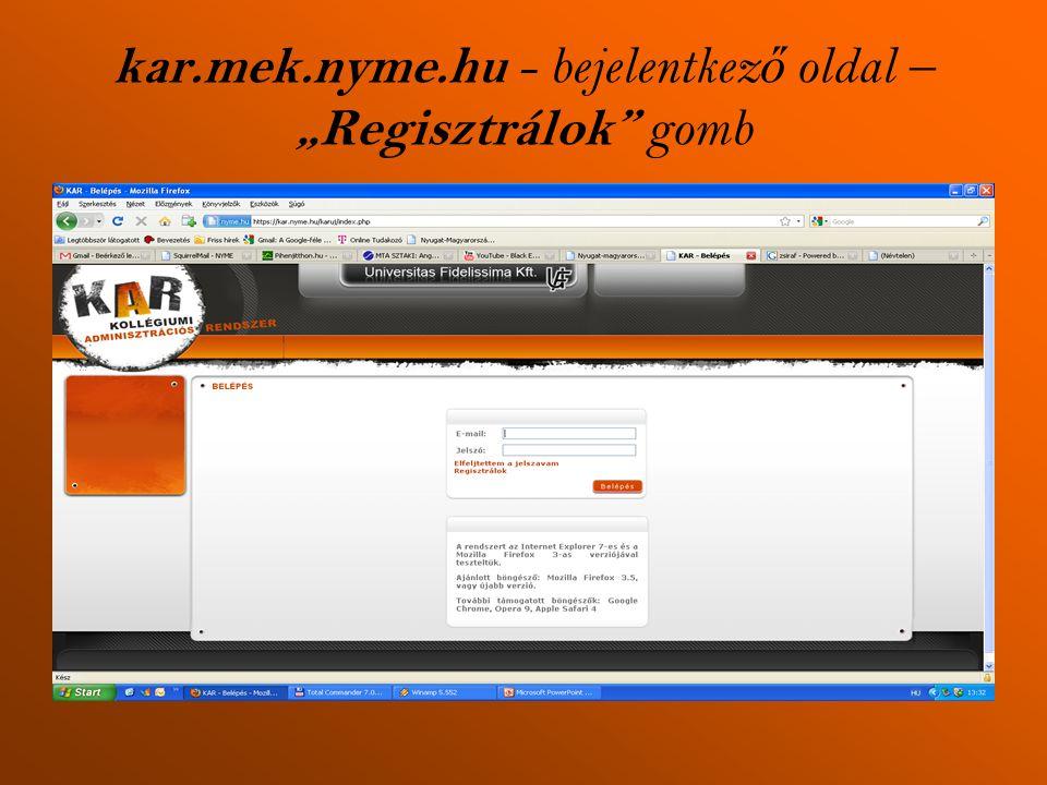 """kar.mek.nyme.hu - bejelentkez ő oldal – """"Regisztrálok gomb"""