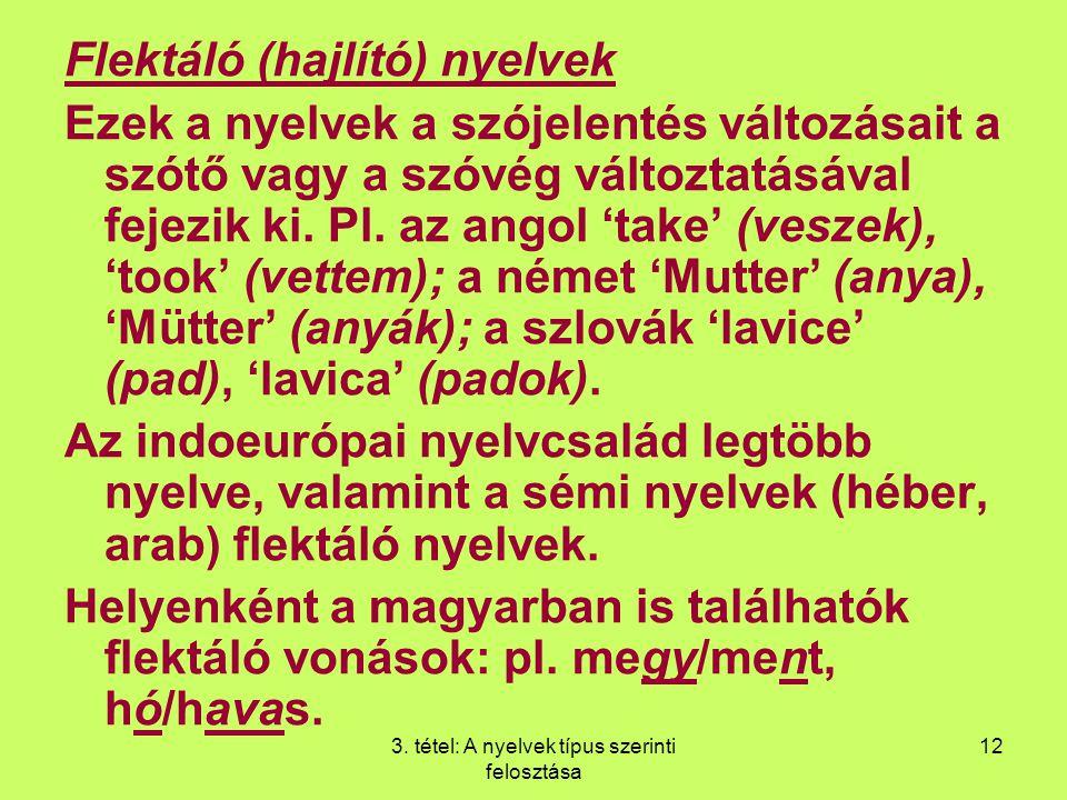 3. tétel: A nyelvek típus szerinti felosztása 12 Flektáló (hajlító) nyelvek Ezek a nyelvek a szójelentés változásait a szótő vagy a szóvég változtatás