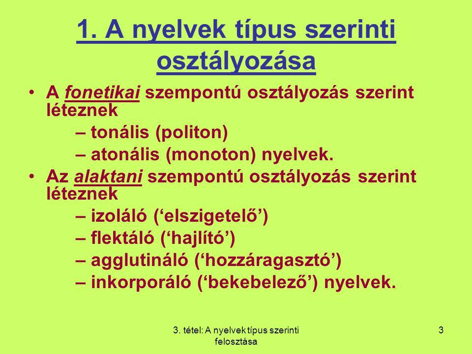 3. tétel: A nyelvek típus szerinti felosztása 3 1. A nyelvek típus szerinti osztályozása A fonetikai szempontú osztályozás szerint léteznek – tonális