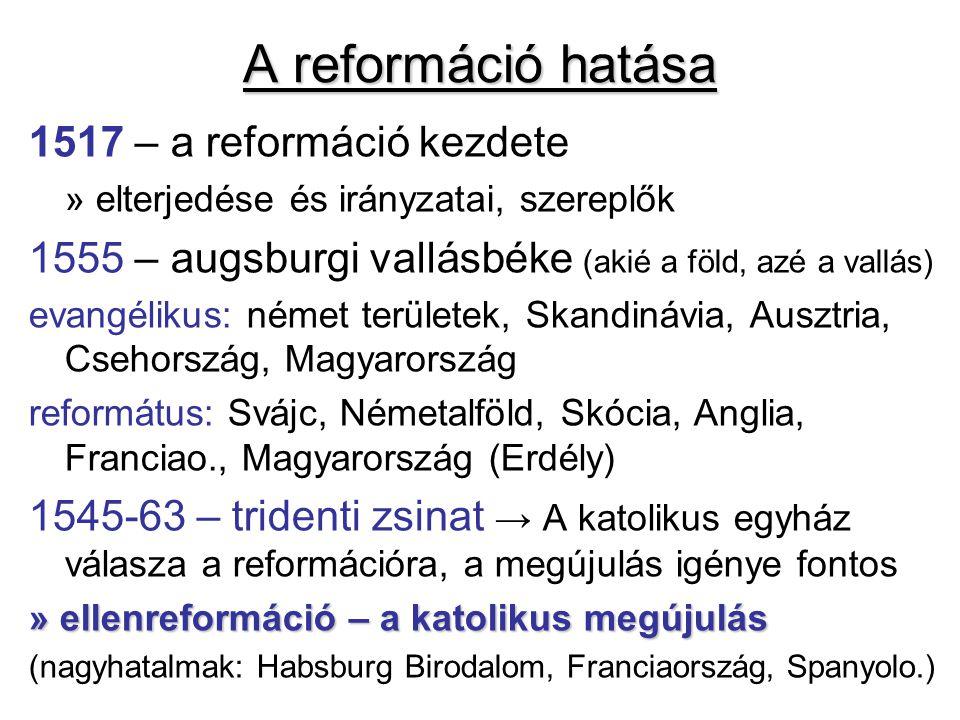A reformáció hatása 1517 – a reformáció kezdete » elterjedése és irányzatai, szereplők 1555 – augsburgi vallásbéke (akié a föld, azé a vallás) evangél