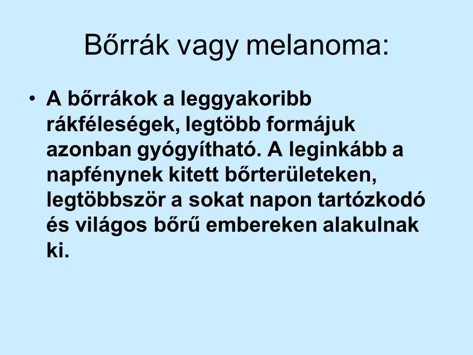 Bőrrák vagy melanoma: A bőrrákok a leggyakoribb rákféleségek, legtöbb formájuk azonban gyógyítható. A leginkább a napfénynek kitett bőrterületeken, le