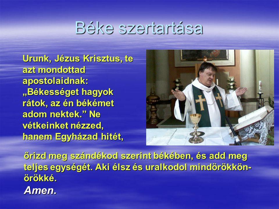 """Béke szertartása Urunk, Jézus Krisztus, te azt mondottad apostolaidnak: """"Békességet hagyok rátok, az én békémet adom nektek."""" Ne vétkeinket nézzed, ha"""