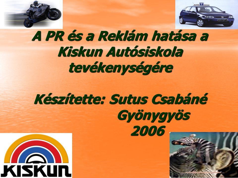 A PR és a Reklám hatása a Kiskun Autósiskola tevékenységére Készítette: Sutus Csabáné Gyönygyös 2006