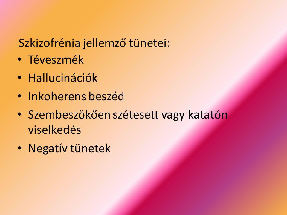 Szkizofrénia jellemző tünetei: Téveszmék Hallucinációk Inkoherens beszéd Szembeszökően szétesett vagy katatón viselkedés Negatív tünetek