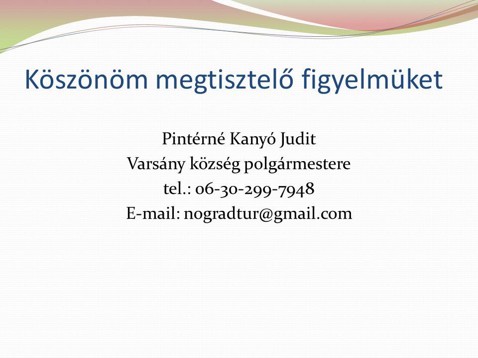 Köszönöm megtisztelő figyelmüket Pintérné Kanyó Judit Varsány község polgármestere tel.: 06-30-299-7948 E-mail: nogradtur@gmail.com