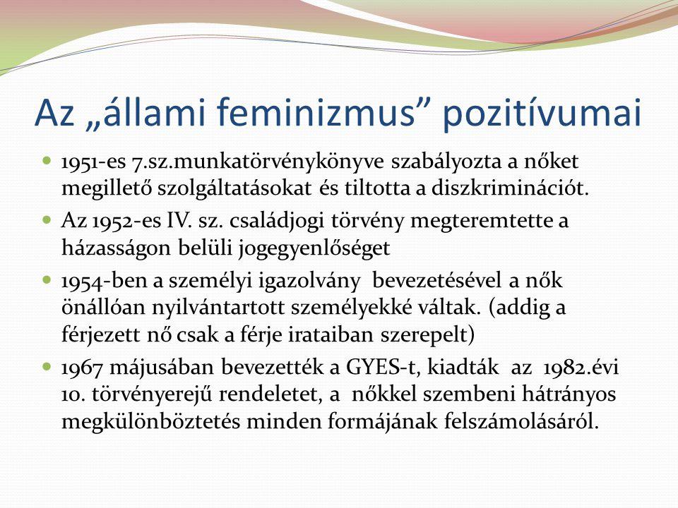 """Az """"állami feminizmus pozitívumai 1951-es 7.sz.munkatörvénykönyve szabályozta a nőket megillető szolgáltatásokat és tiltotta a diszkriminációt."""