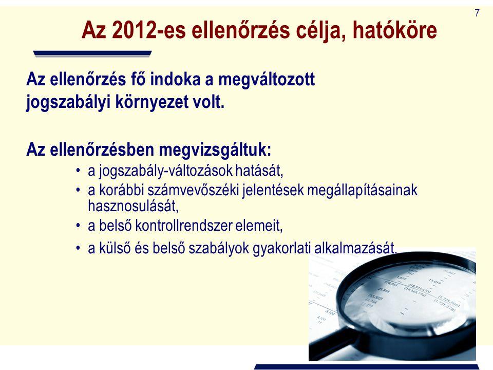 7 Az 2012-es ellenőrzés célja, hatóköre Az ellenőrzés fő indoka a megváltozott jogszabályi környezet volt. Az ellenőrzésben megvizsgáltuk: a jogszabál