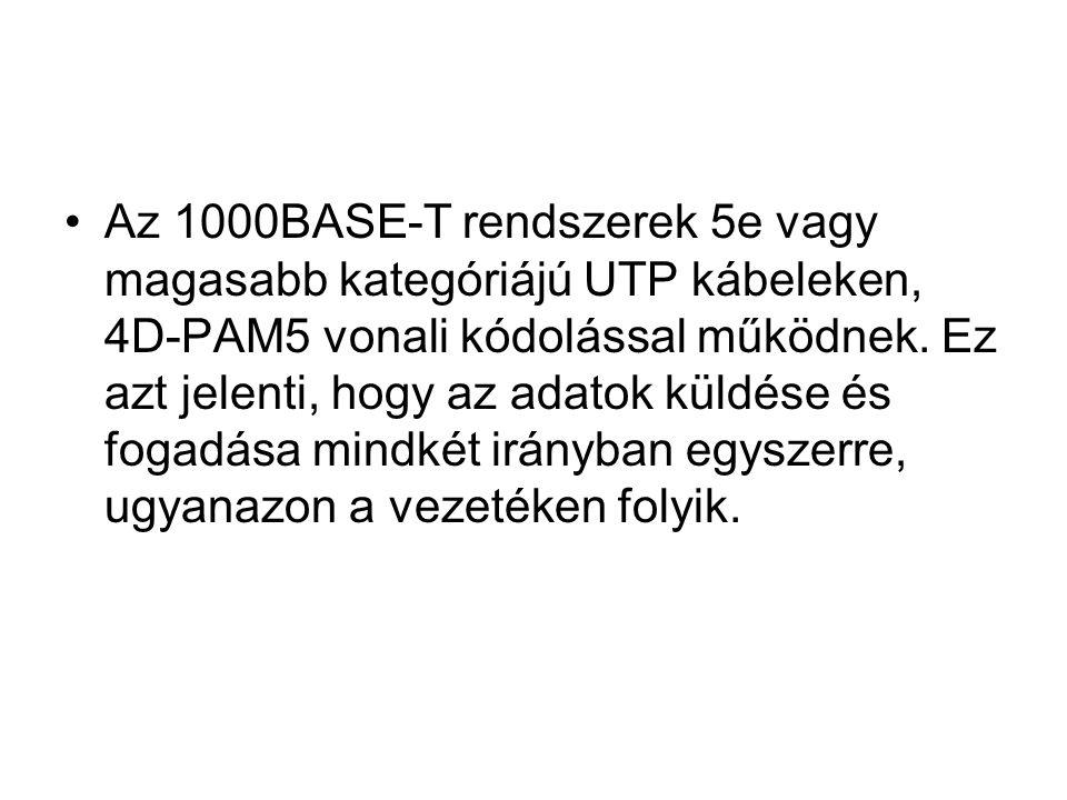 Az 1000BASE-T rendszerek 5e vagy magasabb kategóriájú UTP kábeleken, 4D-PAM5 vonali kódolással működnek. Ez azt jelenti, hogy az adatok küldése és fog