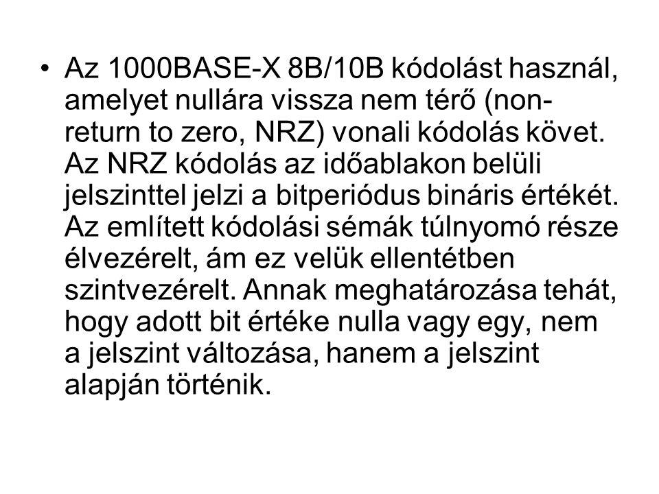 Az 1000BASE-X 8B/10B kódolást használ, amelyet nullára vissza nem térő (non- return to zero, NRZ) vonali kódolás követ. Az NRZ kódolás az időablakon b