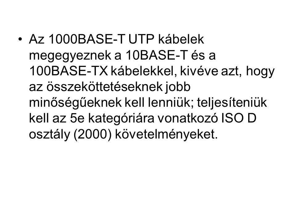 Az 1000BASE-T UTP kábelek megegyeznek a 10BASE-T és a 100BASE-TX kábelekkel, kivéve azt, hogy az összeköttetéseknek jobb minőségűeknek kell lenniük; t
