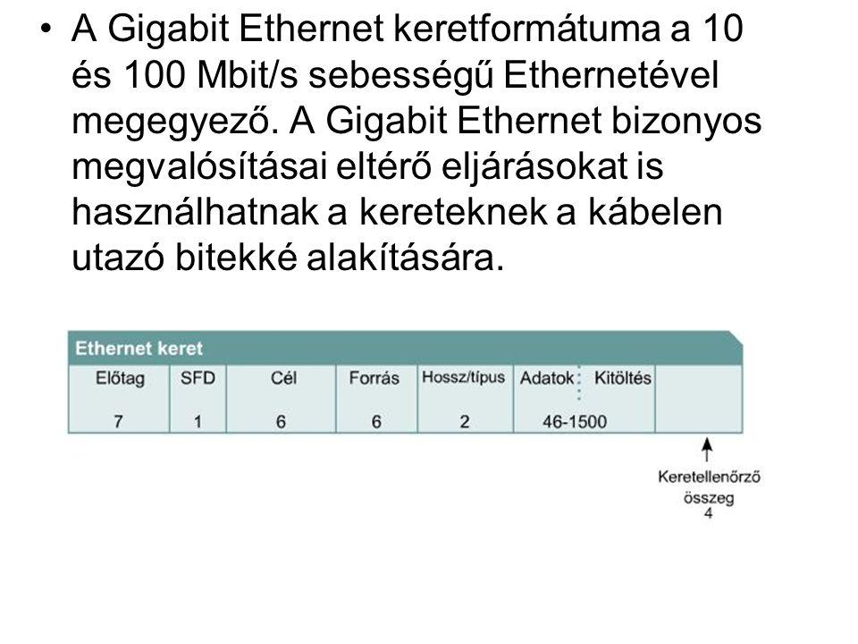 A Gigabit Ethernet keretformátuma a 10 és 100 Mbit/s sebességű Ethernetével megegyező. A Gigabit Ethernet bizonyos megvalósításai eltérő eljárásokat i