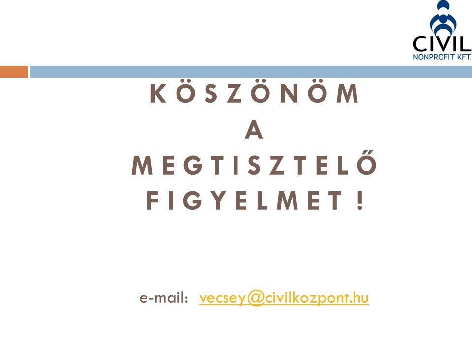 K Ö S Z Ö N Ö M A M E G T I S Z T E L Ő F I G Y E L M E T ! e-mail: vecsey@civilkozpont.huvecsey@civilkozpont.hu