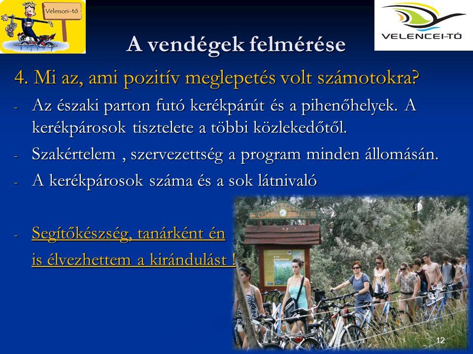 12 A vendégek felmérése 4. Mi az, ami pozitív meglepetés volt számotokra? - Az északi parton futó kerékpárút és a pihenőhelyek. A kerékpárosok tisztel