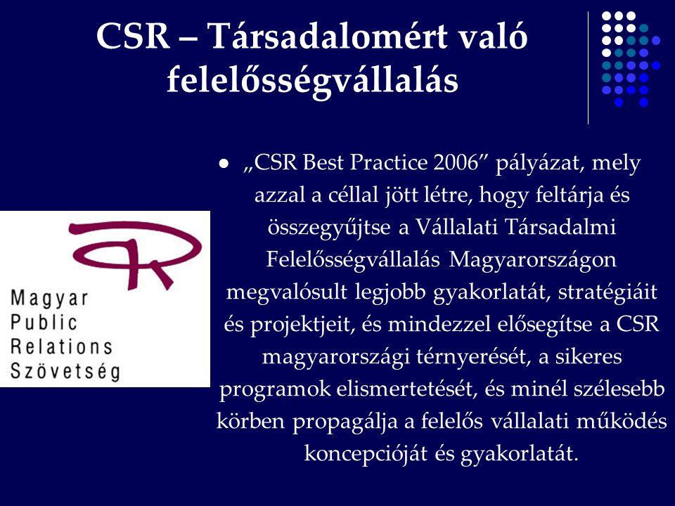 """CSR – Társadalomért való felelősségvállalás """"CSR Best Practice 2006"""" pályázat, mely azzal a céllal jött létre, hogy feltárja és összegyűjtse a Vállala"""